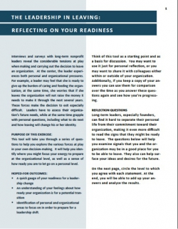 Reflecting on Your Readiness to Leave