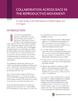 New Release: Collaboration Across Race in the Reproductive Movement: A Case Study of the Reproductive Health Equity Act in Oregon